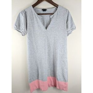Theory Gray & Pink Kenzie Shock Short Casual Dress